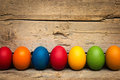 A Row Of Colorful Easter Eggs Stock Image - 65995711