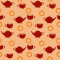 Seamless Pattern With Red Teapot And Cup And Sweet Pretzel Stock Photo - 66016560