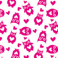 Cute Owls Pink Silhouettes And Hearts Seamless Pattern On A White Background Stock Image - 66018061