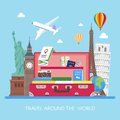 Travel Concept Vector Illustration In Flat Style Design. Airplane Flying Above Tourists Luggage Stock Photography - 66026672
