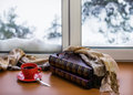 Red Cup Of Coffee Or Tea With A Metal Spoon, Photo Albums And Gl Stock Photo - 66028370