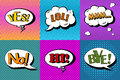 Vector Set Of Comic Speech Bubbles In Pop Art Style. Design Elements, Text Clouds, Message Templates Stock Photography - 66030812