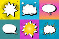 Vector Set Of Comic Speech Bubbles In Pop Art Style. Design Elements, Text Clouds, Message Templates Stock Photography - 66030832