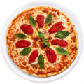 Pizza With Sun-dried Tomatoes And Basil Royalty Free Stock Photos - 66040298