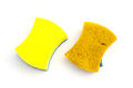 Top View New & Old Double-side Cleaning Sponge On White Background Royalty Free Stock Photography - 66058957