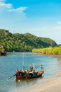 Fishing Boats In Sea And Mangrove Forest Of Thailand Stock Photos - 66061483