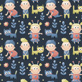 Seamless Children Cute Pattern Made With Cats, Kids, Toys, Flowers, Babies Stock Photo - 66066690