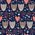 Valentines Day Seamless Pattern Background With Funny Cartoon Bears Stock Photography - 66071172