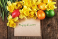 Happy Easter Card - Yellow Flowers Sunlight Effect Stock Photo - 66086890