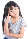 Young Cute Girl Thinking Stock Image - 66092541