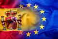 Waving Flag Of Spain And European Union.Eu Flag Spain Flag Stock Photography - 66093112