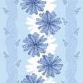 Seamless Pattern With Ornate Chicory Flower In Blue On The Light Blue Background With Stripes. Floral Background In Contour Style Royalty Free Stock Images - 66097829