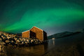 Aurora Borealis Over Boat Shed Stock Images - 66111364