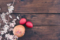 Easter Cake And Red Eggs On Rustic Wooden Table. Top View Stock Image - 66112751