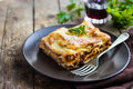 Traditional Italian Lasagna  With Minced Beef Bolognese Sauce Stock Photography - 66115152