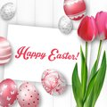 Easter Background With Colored Eggs, Red Tulips And Greeting Card Over White Wood Stock Photos - 66116213