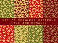 I Love You. Set Of Seamless Patterns With Hearts. Festive Patter Royalty Free Stock Photos - 66117938