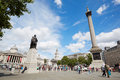 Trafalgar Square In A Sunny Day, People And Tourists In London Royalty Free Stock Image - 66130486