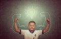 CHAINAT - 22 FEB: Asian Strong Children Against Blackboard In Cl Royalty Free Stock Photography - 66139997