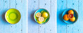 Colorful Orange Fruits Over A Light Blue Painted Wood Table Stock Photo - 66148060