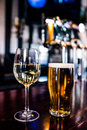 Close Up Of A Glass Of Wine And A Beer Stock Photo - 66154160