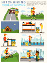 Vector Flat Illustration Infographic Of Hitchhiking Tourism (road Travel). Man With A Big Backpack Travelling. Sleeping Royalty Free Stock Images - 66154629