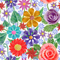 Seamless Pattern With Abstract Bright Flowers. Vector, EPS10 Royalty Free Stock Image - 66157716