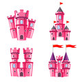 Set Of Pink Fairy Castles Stock Photo - 66163500
