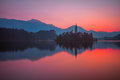 An Island With Church In Bled Lake, Slovenia At Sunrise Stock Photography - 66165752