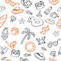 Hand Drawn Seamless Summer Pattern With Beach Icons. Background Stock Image - 66167281