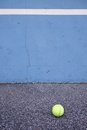 Ball Beside Tennis Training Wall. Empty Training Tennis Court Stock Images - 66182454