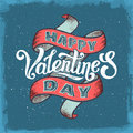 Happy Valentines Day Vintage Poster Royalty Free Stock Photo - 66185765