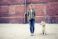 Hipster Woman With Dog And Vintage Road Bike In City Stock Photography - 66191642