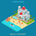 Flat 3d Isometric Beach Hotel Vacation Resort Sea Island Suntan Royalty Free Stock Photography - 66193237