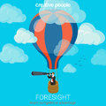 Flat 3d Vector Business Foresight Future Balloon Sky Spyglass Royalty Free Stock Image - 66194626
