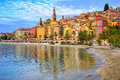 Colorful Medieval Town Menton On Riviera, Mediterranean Sea, Fra Royalty Free Stock Image - 66194956