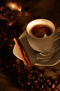 Coffee Cup With Mill, Fresh Beans And Cookies Royalty Free Stock Images - 6624229