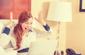 Surprised Woman With Laptop Computer In Her Hotel Room Stock Photos - 66204003