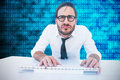 Composite Image Of Business Worker With Reading Glasses On Computer Stock Photo - 66225740