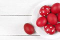 Red Easter Eggs In Plate Stock Image - 66231341
