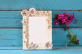 Vintage Blank Frame Next To Beautiful Purple Mediterranean Summer Flowers. Template, Ready To Put Photography Royalty Free Stock Photo - 66233395