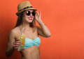 Woman In Bikini With A Cold Drink Stock Photography - 66247342