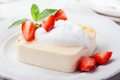 Pudding, Cheesecake, Custard Dessert, With Sour Cream And Fresh Strawberry And Mint Leaves Stock Image - 66258231