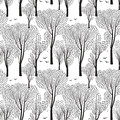 Trees And Birds. Nature Seamless Pattern. Forest Background. Stock Photos - 66263213