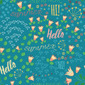 Seamless Summer Pattern With Hand Drawn Meadow Flowers, Leaf And Words Hello, Hi, Summeron The Blue Background. Hand Lettering Ill Royalty Free Stock Images - 66272339