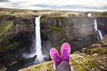 Woman S Leg Relax On Cliff Near Fantastic Waterfall Stock Photo - 66287380