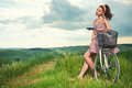 Beautiful Girl With Vintage Bike Outdoor, Tuscany Summer Time Royalty Free Stock Photos - 66296618