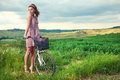 Beautiful Girl With Vintage Bike Outdoor, Tuscany Summer Time Royalty Free Stock Photos - 66296648