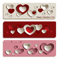 Trendy Banners For Valentine S Day With Cute Paper Hearts Stock Image - 66298021
