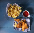 Chicken Fries With Potatoes Stock Images - 66300204